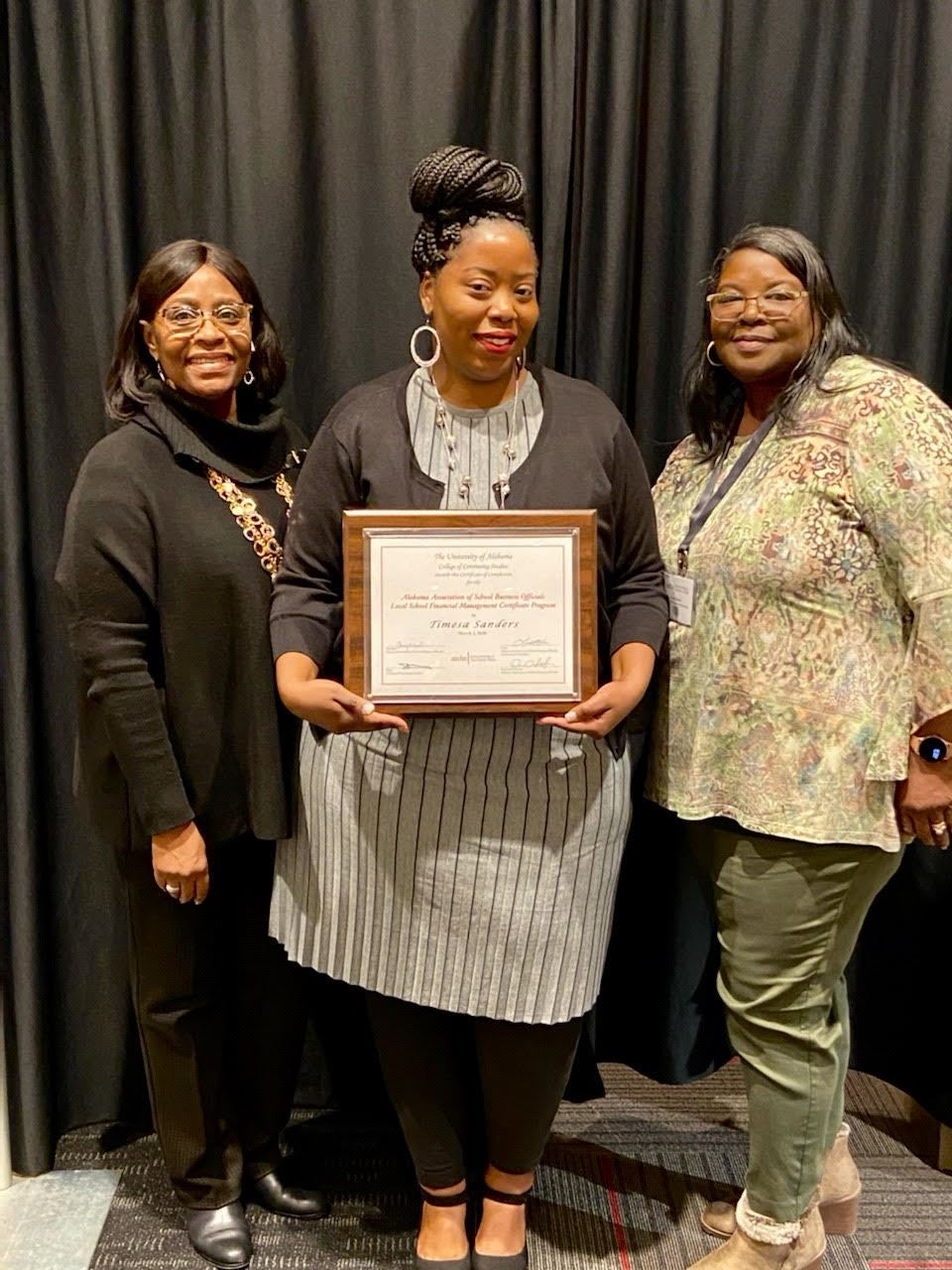 Ms. Timesa Sanders completed The Alabama Association of School Business Officials Local School Financial Management Certification Program from The University of Alabama. Great Job Timesa!!