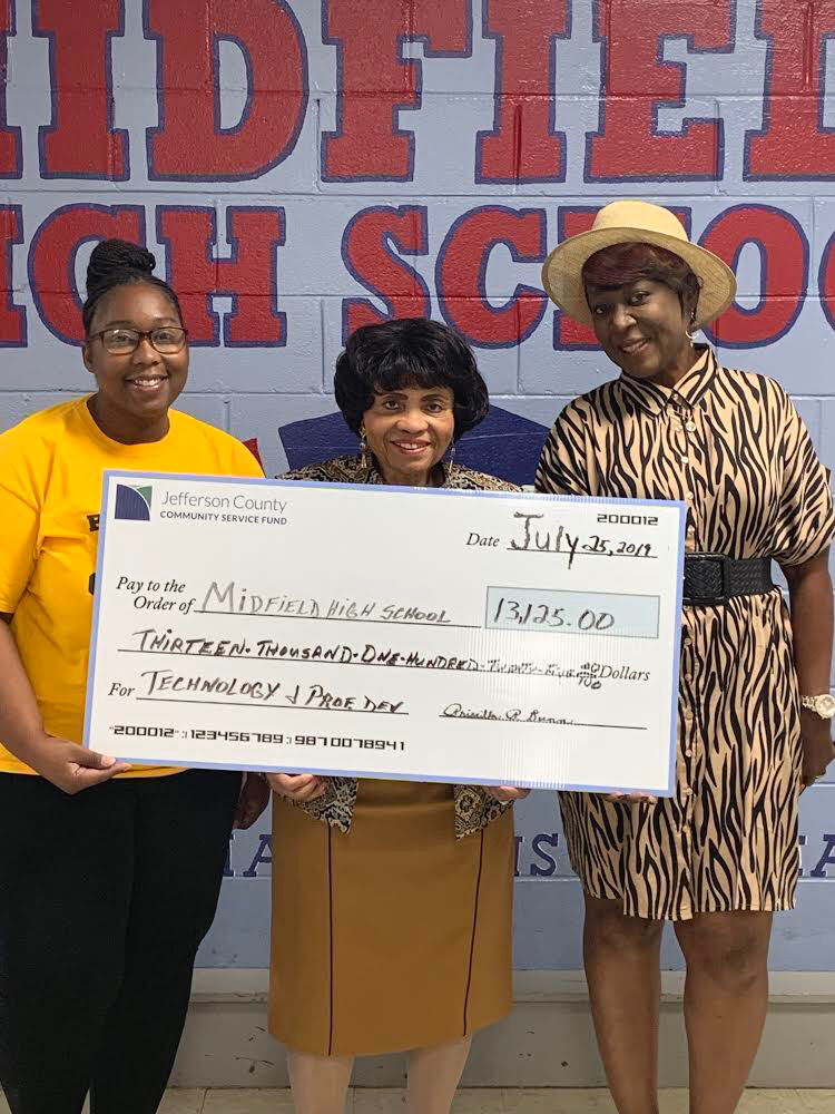 We would like to give a BIG SHOUTOUT to Alabama State Senator Priscilla Dunn! Thank you SO Much for this HUGE Donation, it will go a long way towards advancing technology and professional development at Midfield High School!!